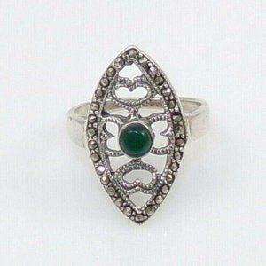 Sterling Silvr Green Onyx Marcasite Ring